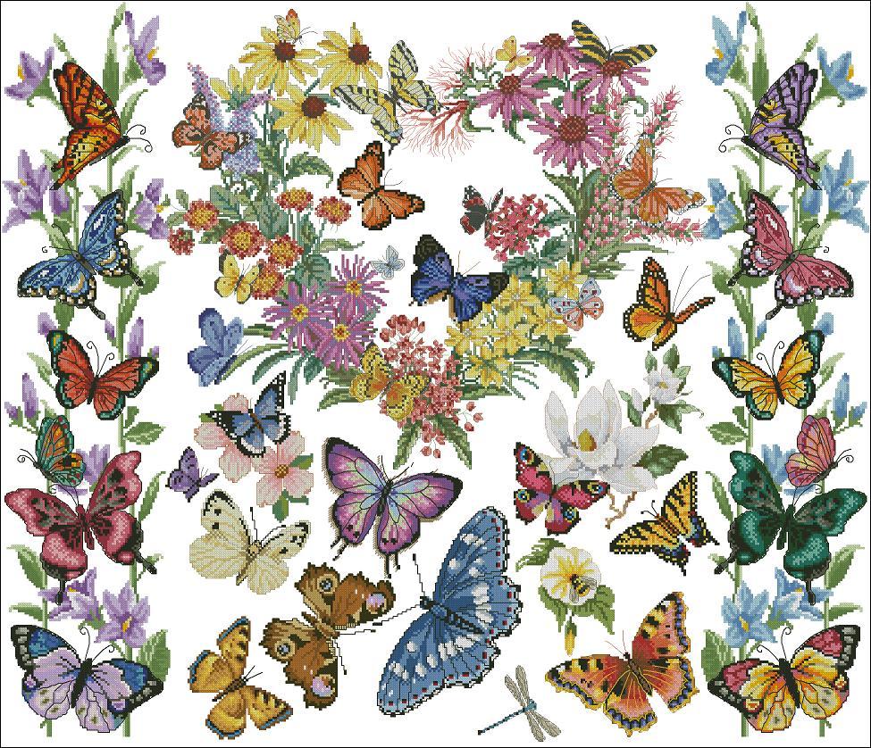 Сердце из бабочек вышивка крестом 100