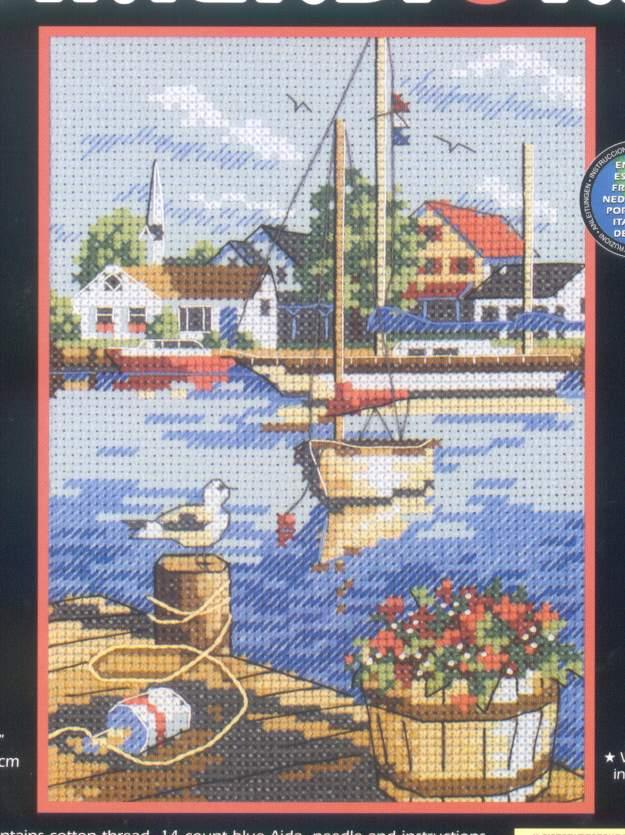 Вышивка крестиком с лодками 48